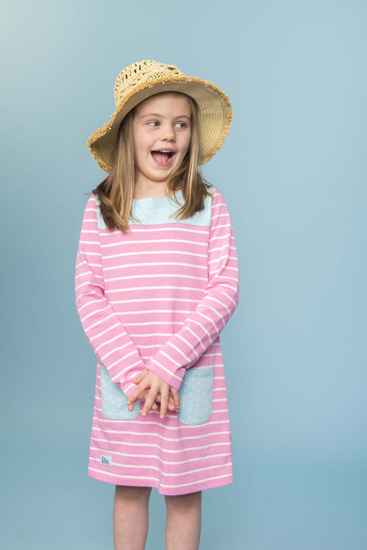 Lighthouse Belle sweet pea stripe dress