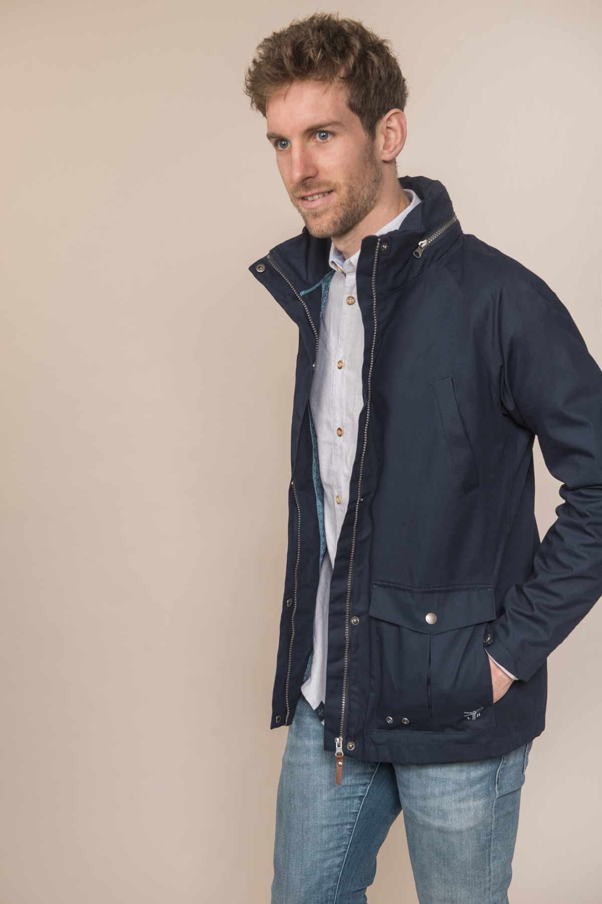Lighthouse Benone navy men's waterproof coat