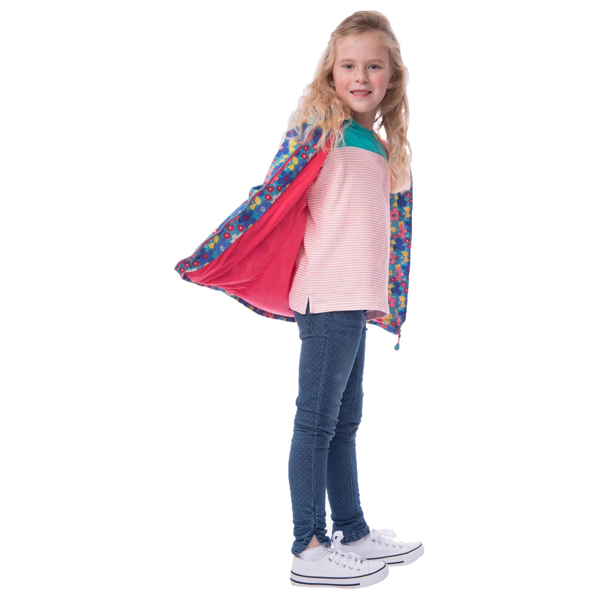 Lighthouse Blossom Girls Waterproof Coat in Sea Spray Floral Print