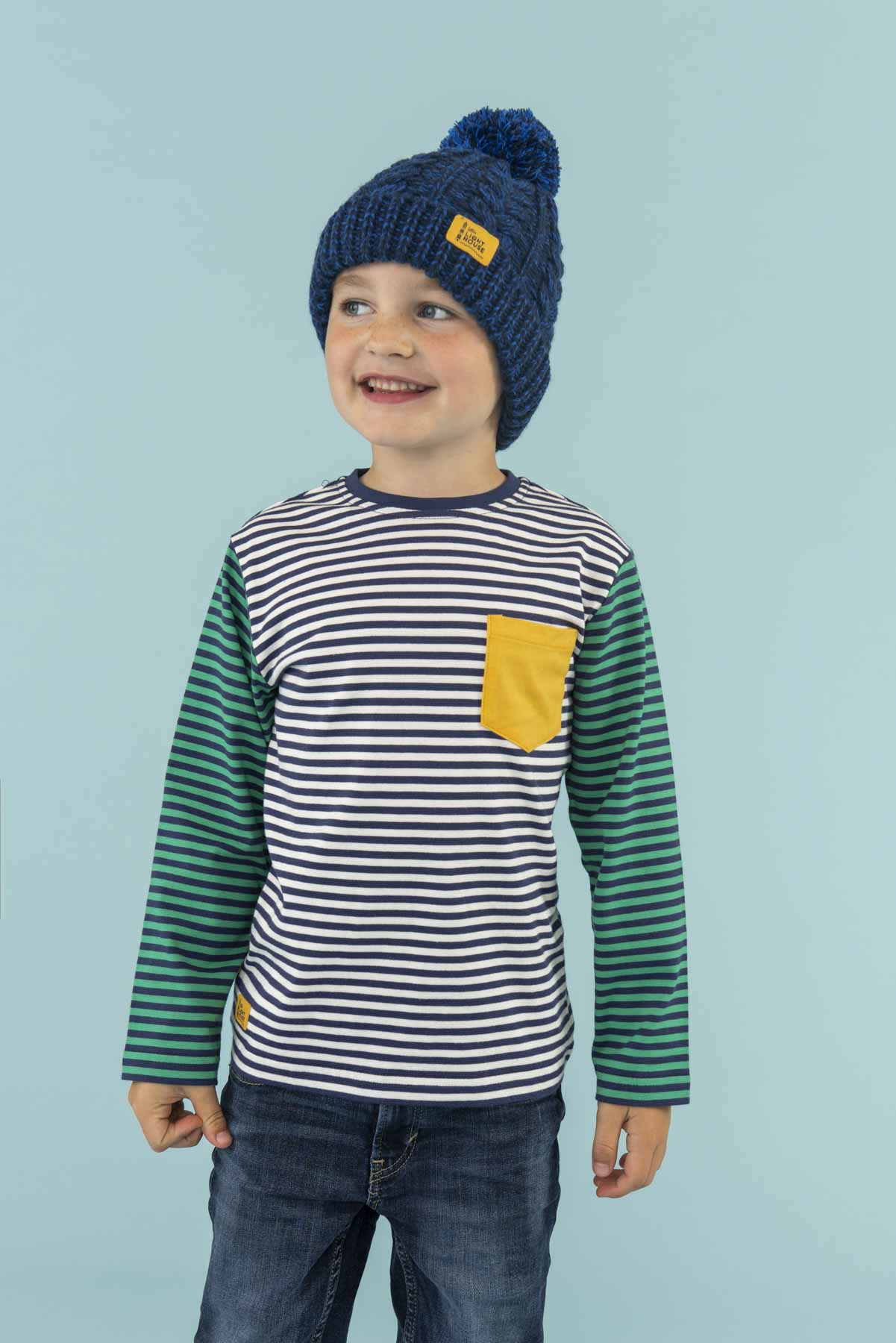 Bobbie Bobble Hat - Navy, Boy's Cable Knit Hat | Lighthouse