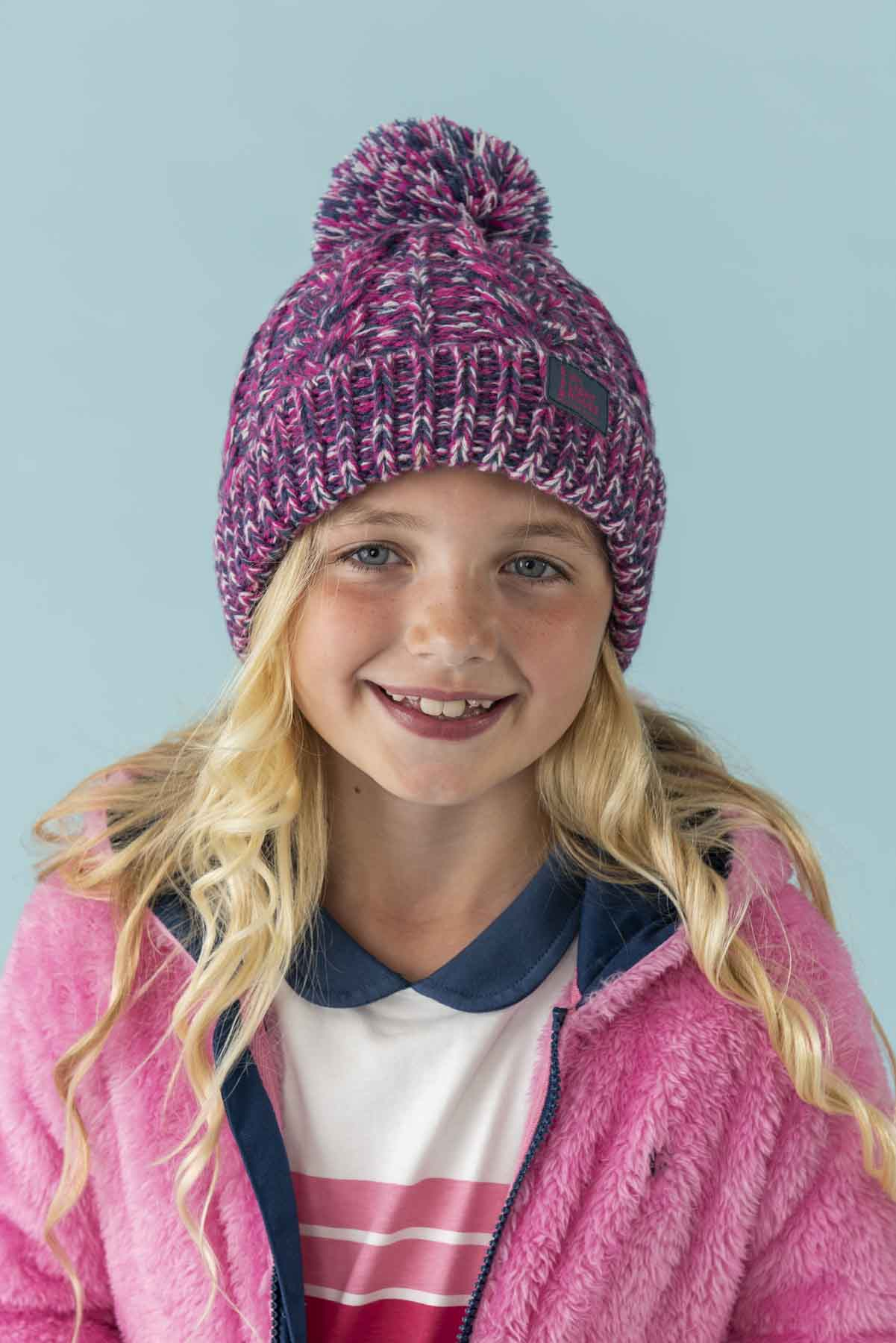 Bobbie Bobble Hat - Pink, Girl's Cable Knit Hat | Lighthouse