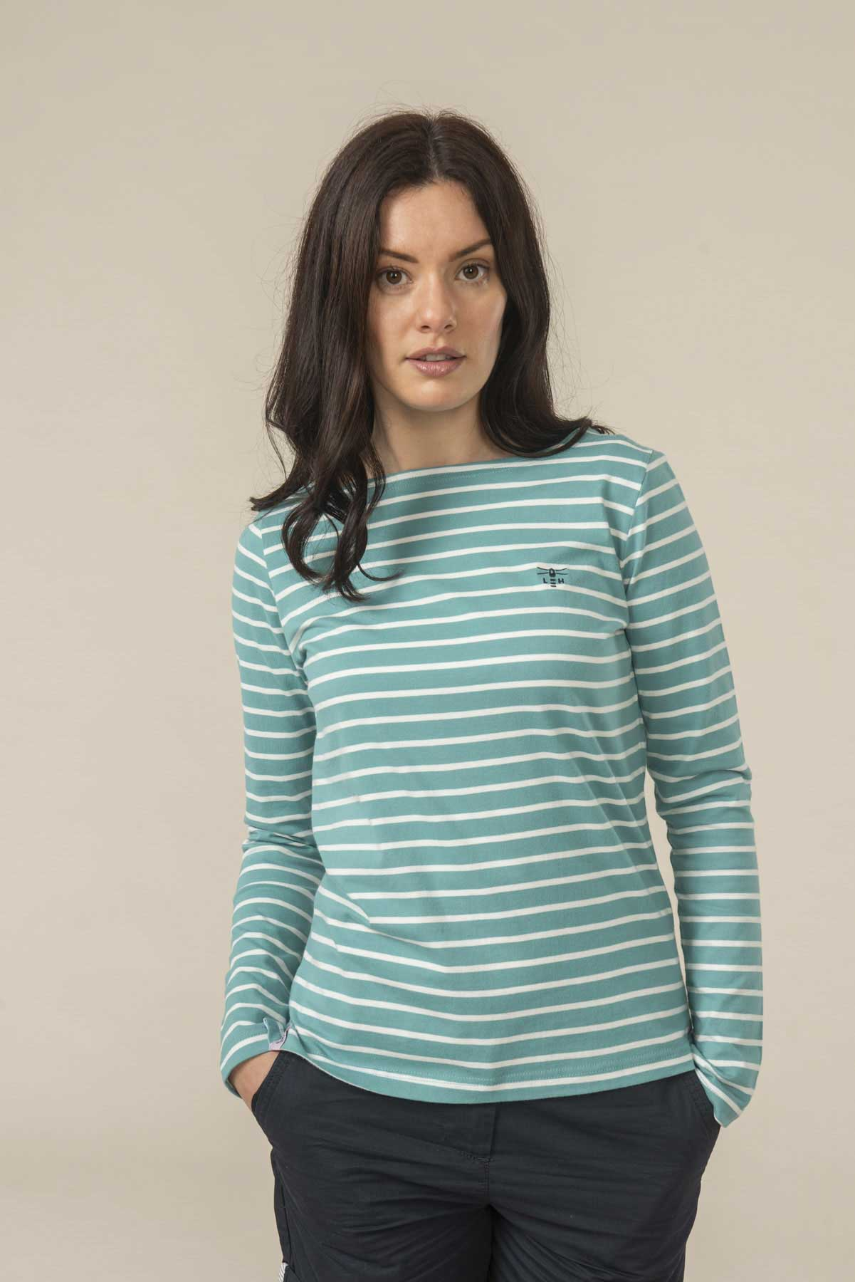 Causeway women's long sleeve top in teal stripe