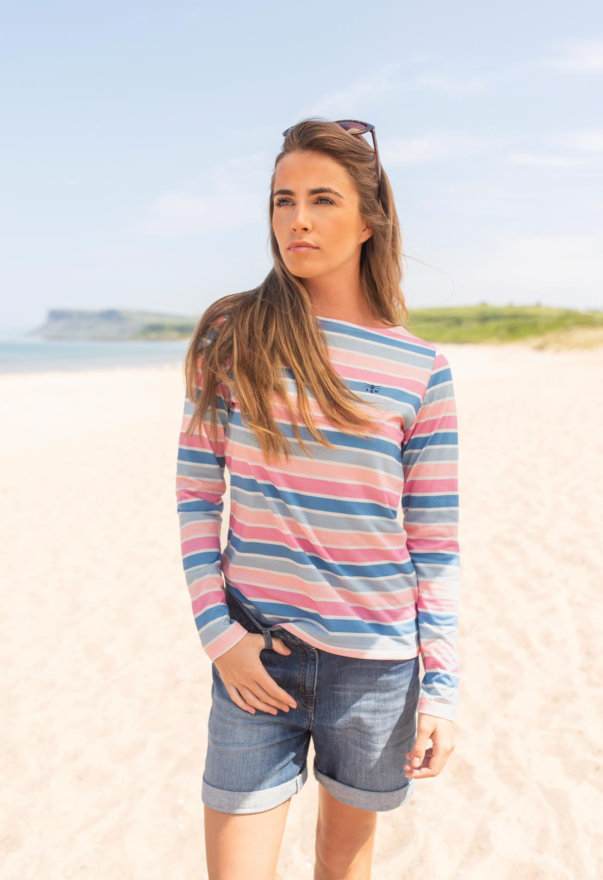 Causeway Top - Rose Pink Blue Marine - Lifestyle