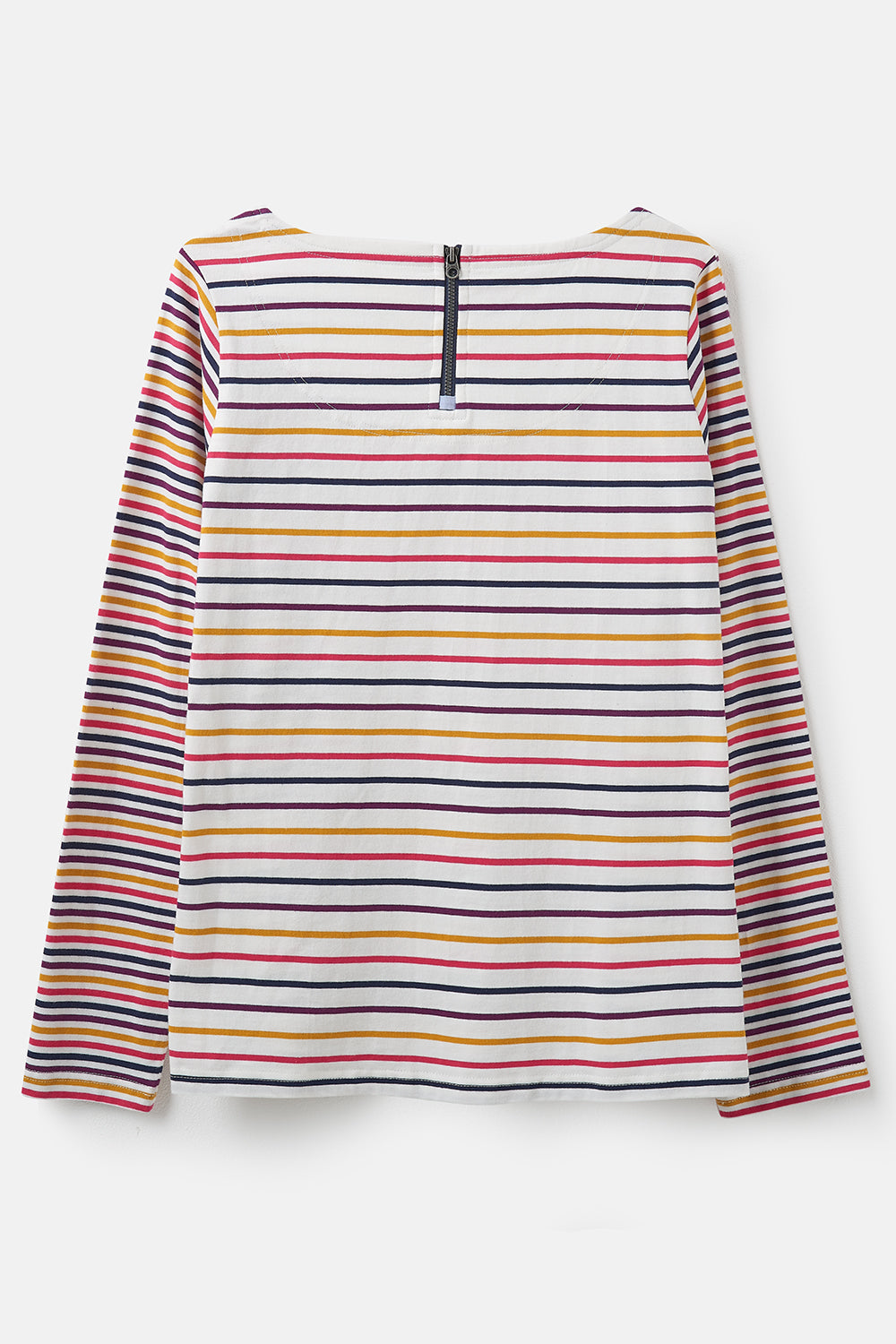 Lighthouse Causeway  - Womens Long Sleeve Top - Pink Yellow Stripe