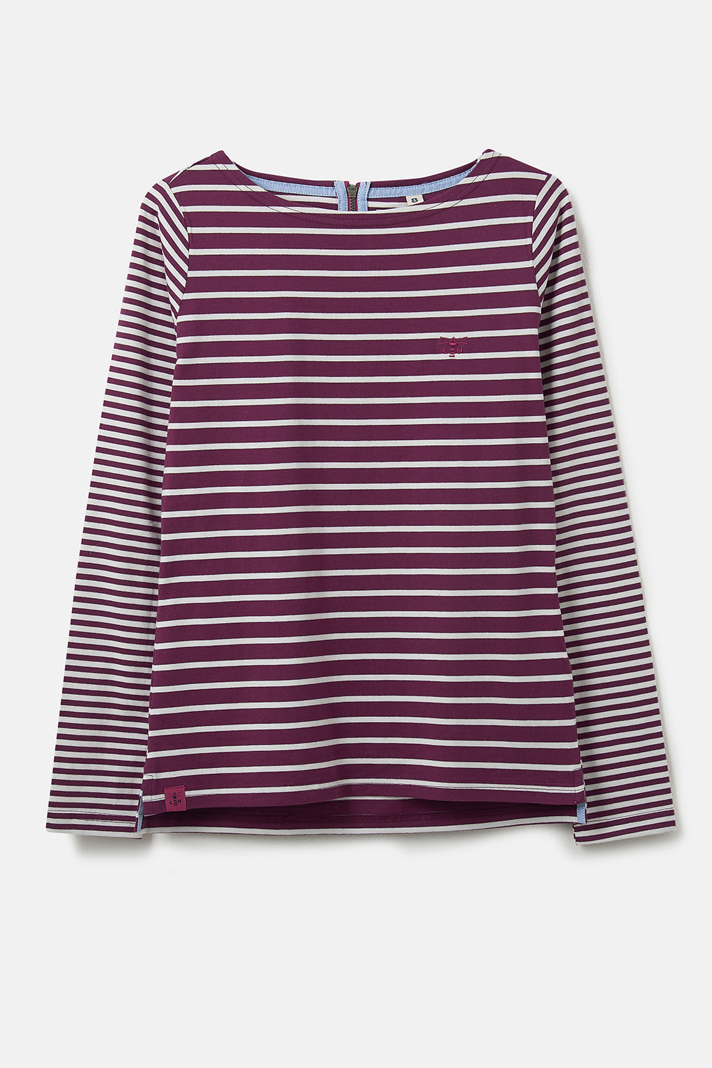 Causeway Breton Top. Long Sleeve Plum Stripes | Lighthouse