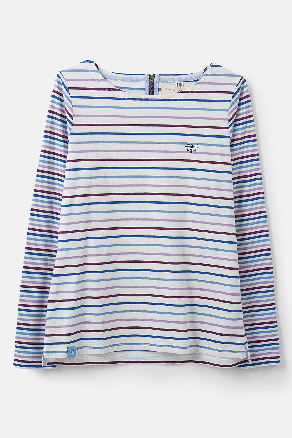 Lighthouse Causeway  - Womens Long Sleeve Top - Purple Blue Stripe