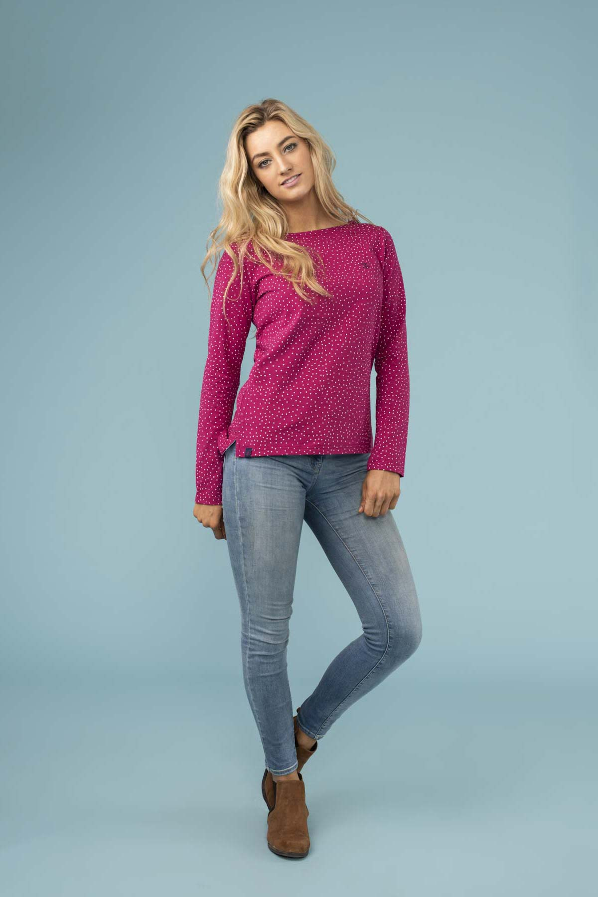 Causeway Long Sleeve Top in Jazzberry Dot