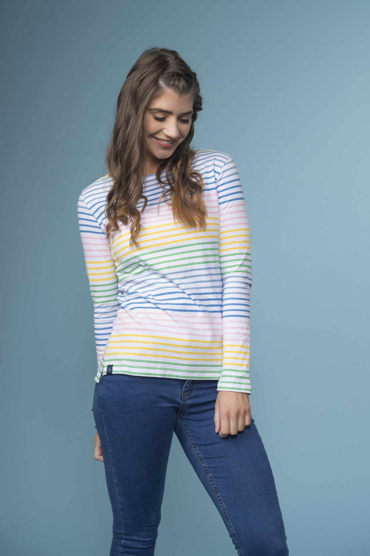 Lighthouse Causeway women's multistripe long sleeve top
