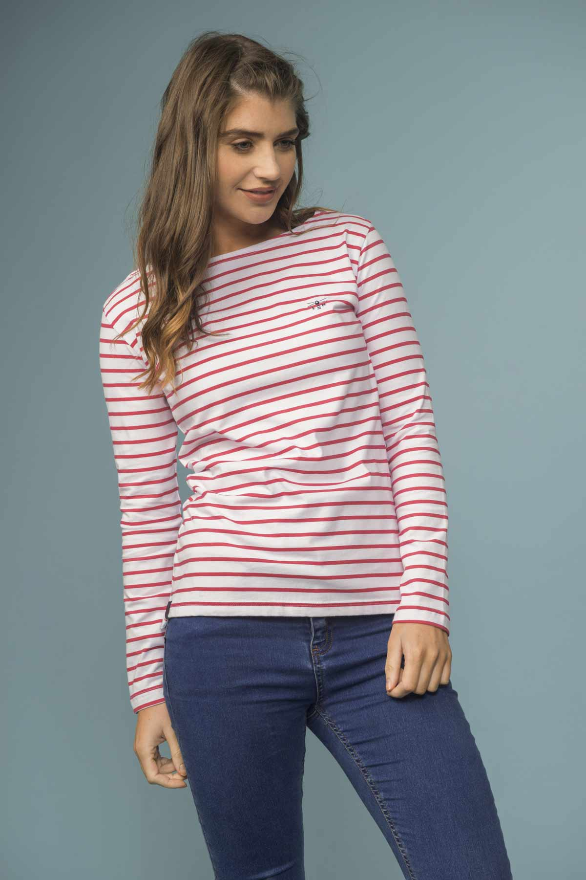 Causeway Women's Red Breton Striped Long Sleeve Top