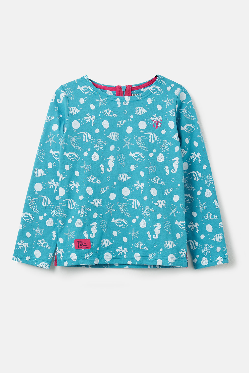 Girl's Tops - Causeway - Teal seashell print top
