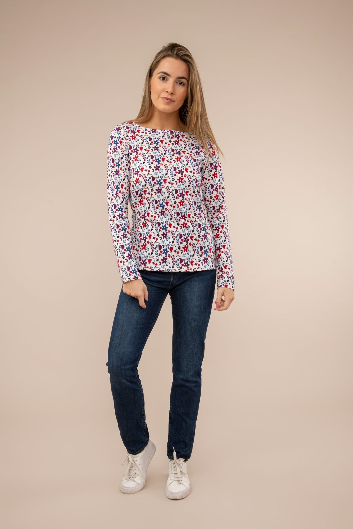 Lighthouse Causeway  - Womens Long Sleeve Top - Floral Print