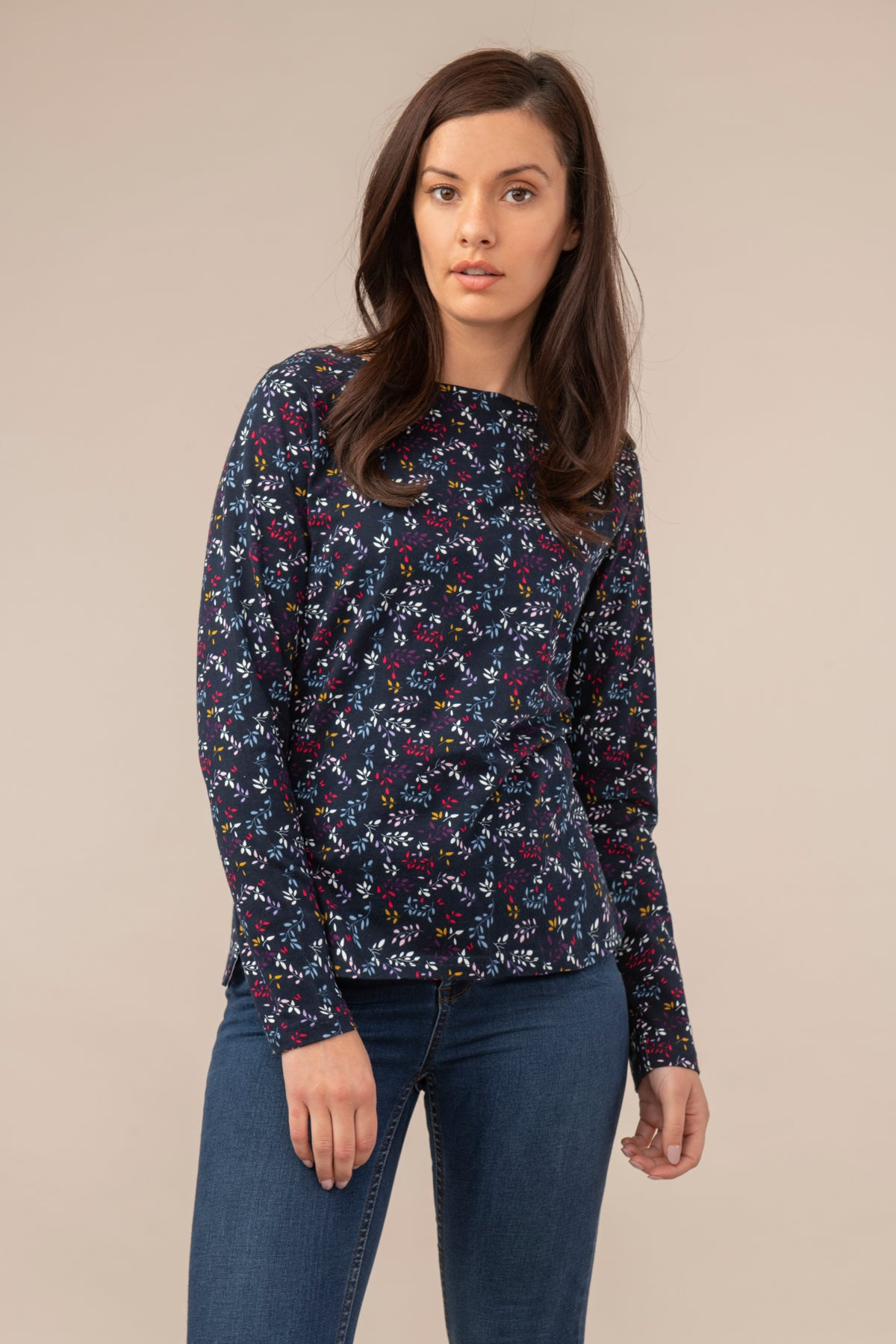 Lighthouse Causeway  - Womens Long Sleeve Top - Navy Leaf Print
