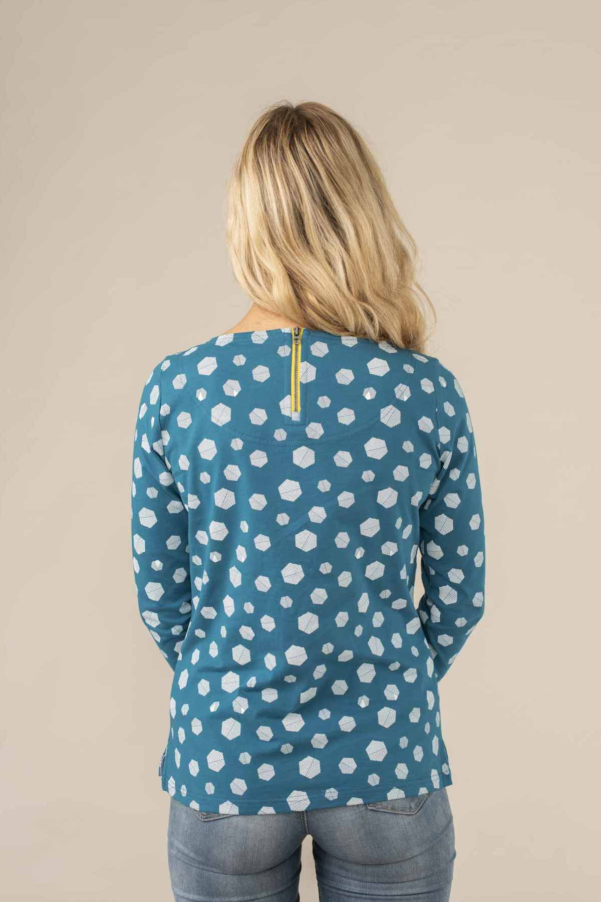 Causeway Breton Top. Long Sleeve Cotton Print | Lighthouse