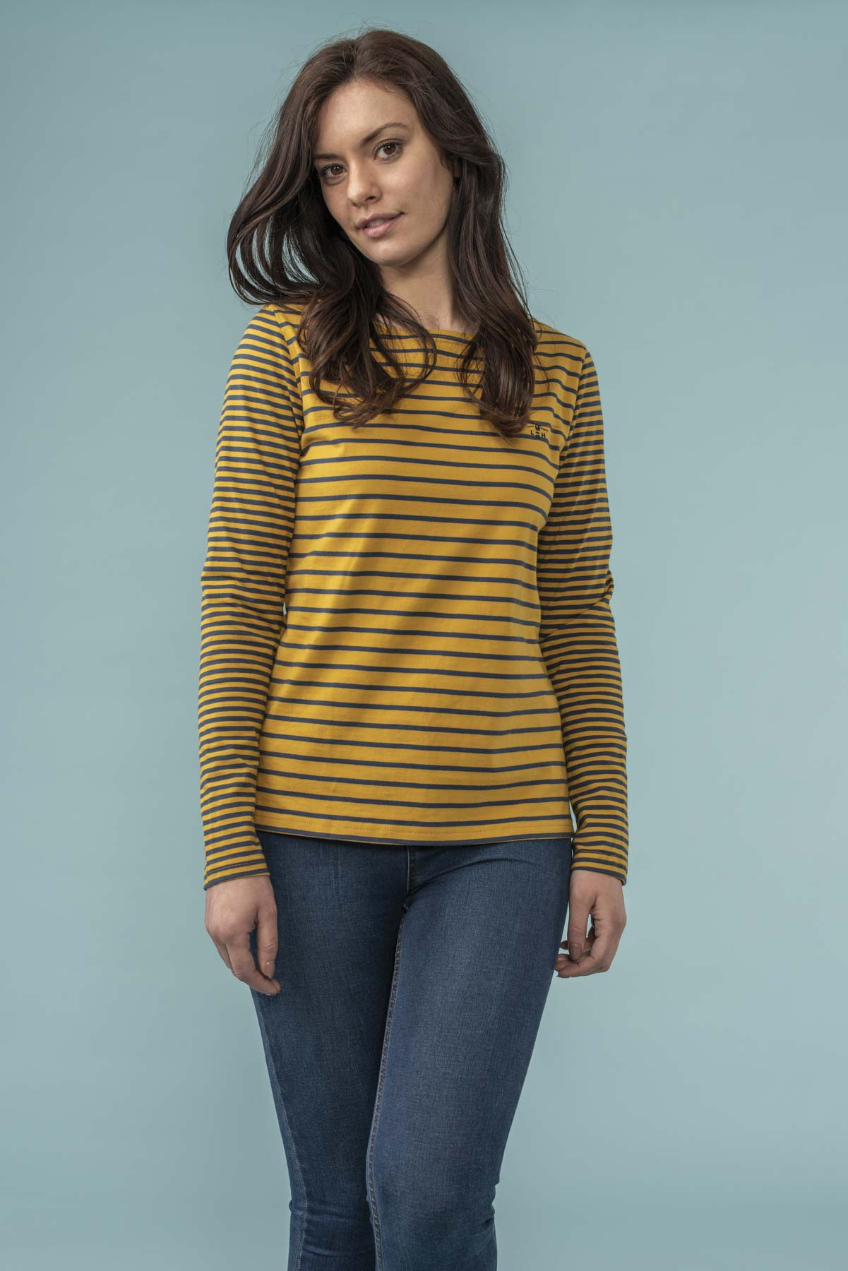 Causeway Breton Top. Long Sleeve Yellow Stripes | Lighthouse