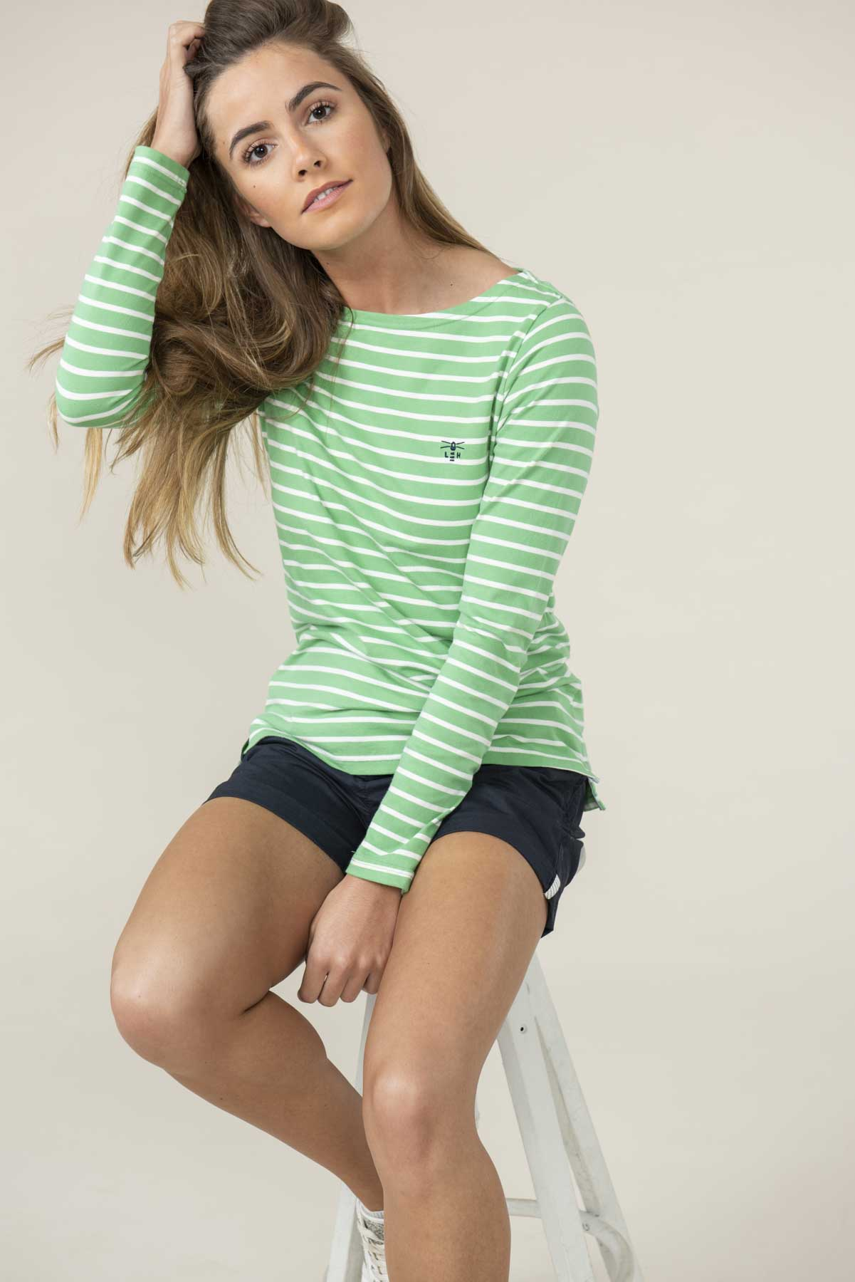 Causeway Women's Green Stripe Long Sleeve Top