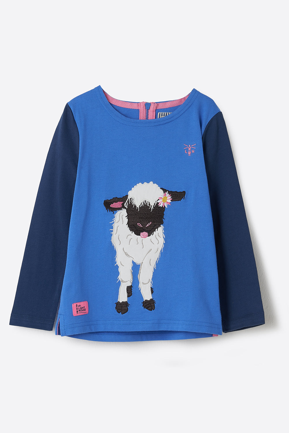 Lighthouse Causeway Girl's Long Sleeve Top - Lamb Print