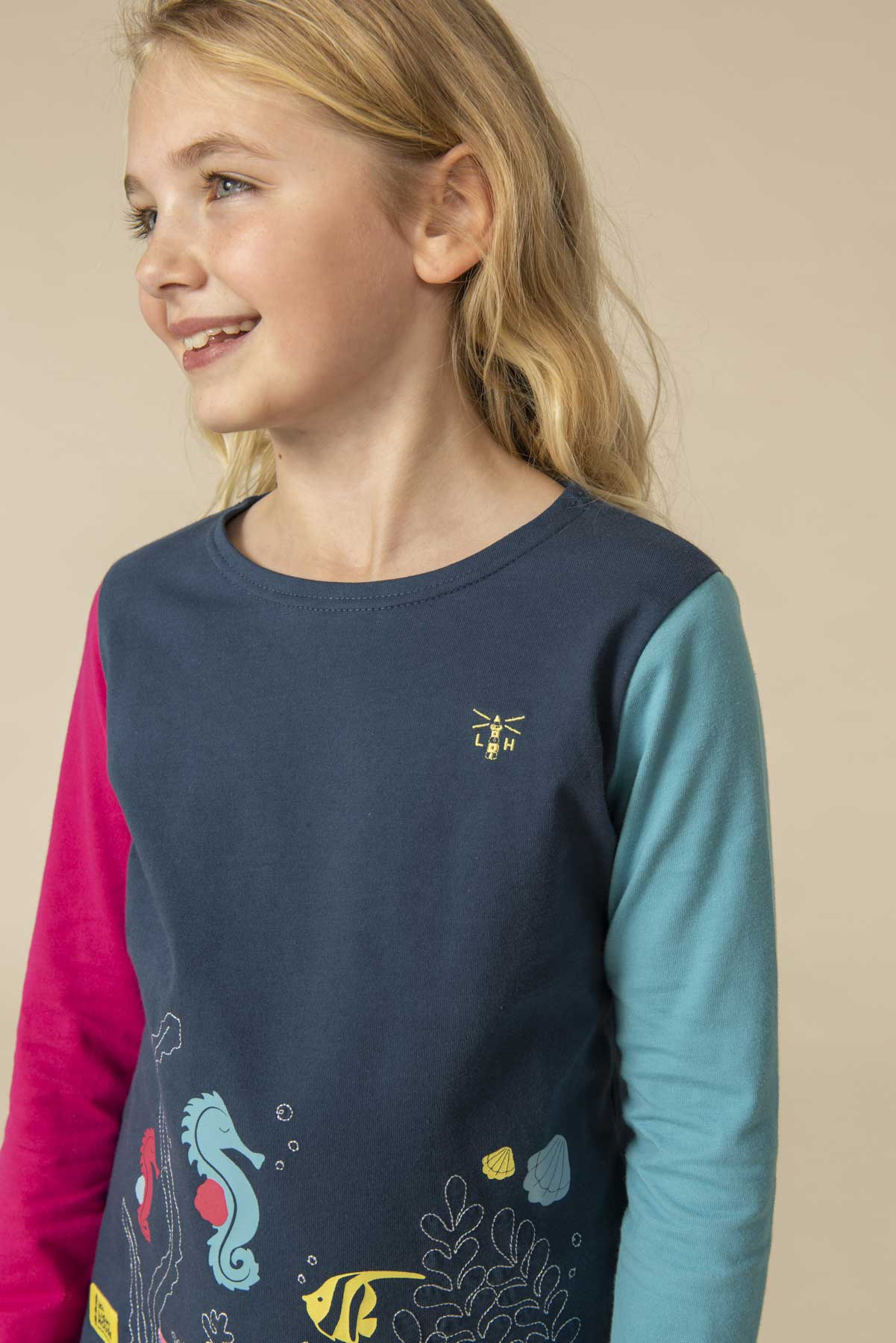 Girl's Tops - Causeway - Navy seahorse print top