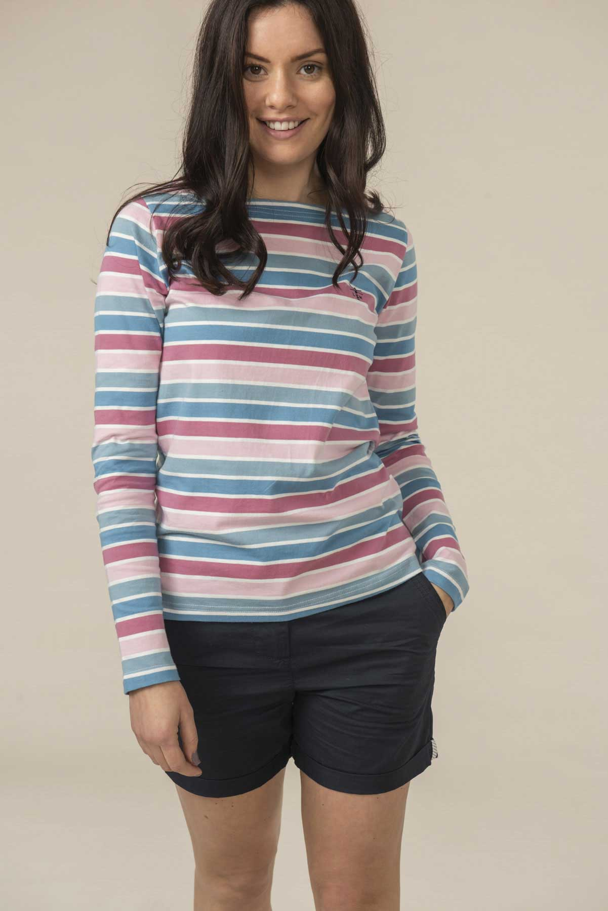 Women's Tops - Causeway - Pink Blue Striped Top