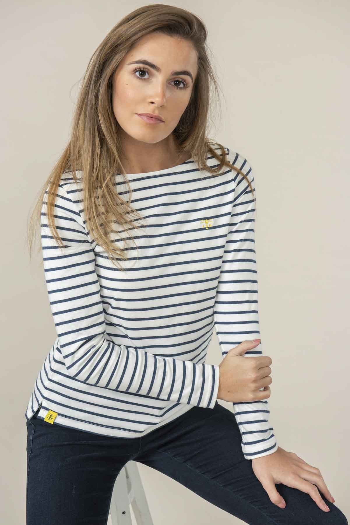 Causeway Women's Navy Breton Striped Long Sleeve Top