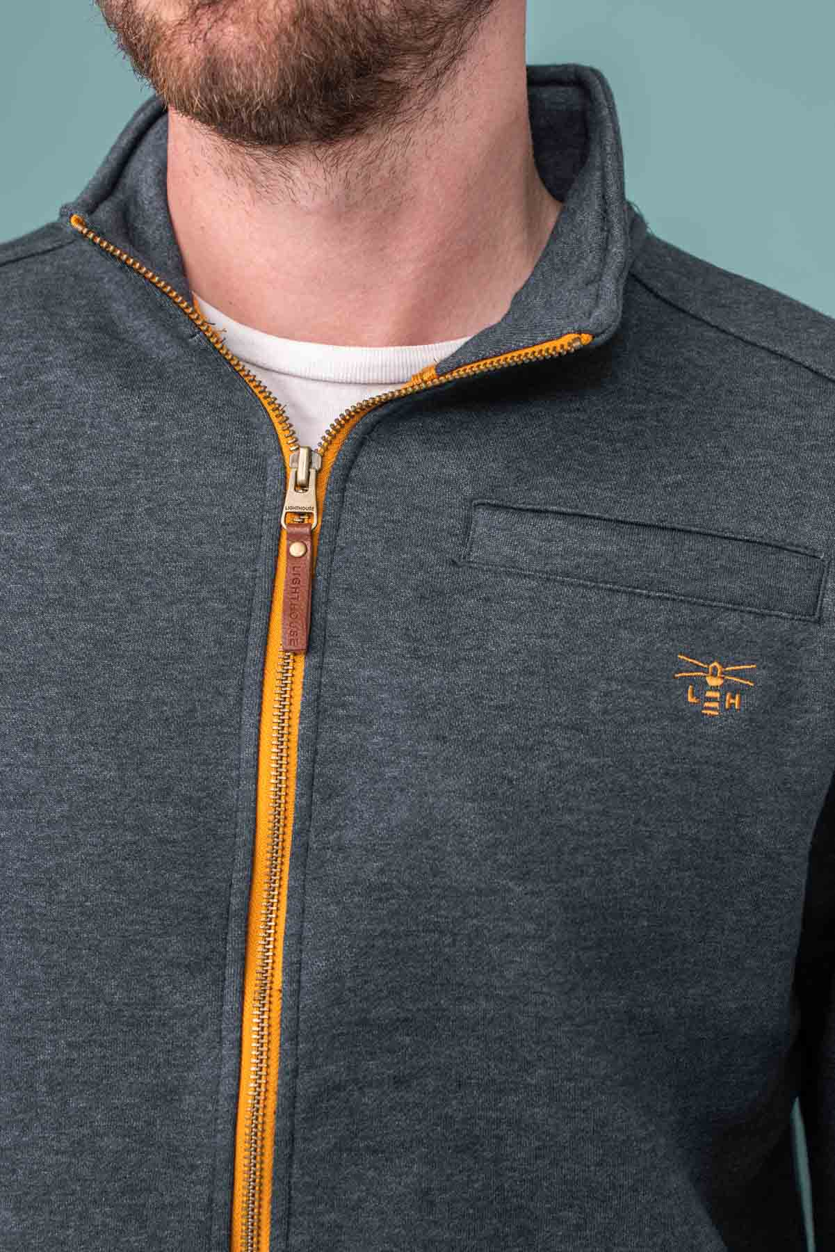 Coast Top. Men's Full Zip Navy Jersey | Lighthouse