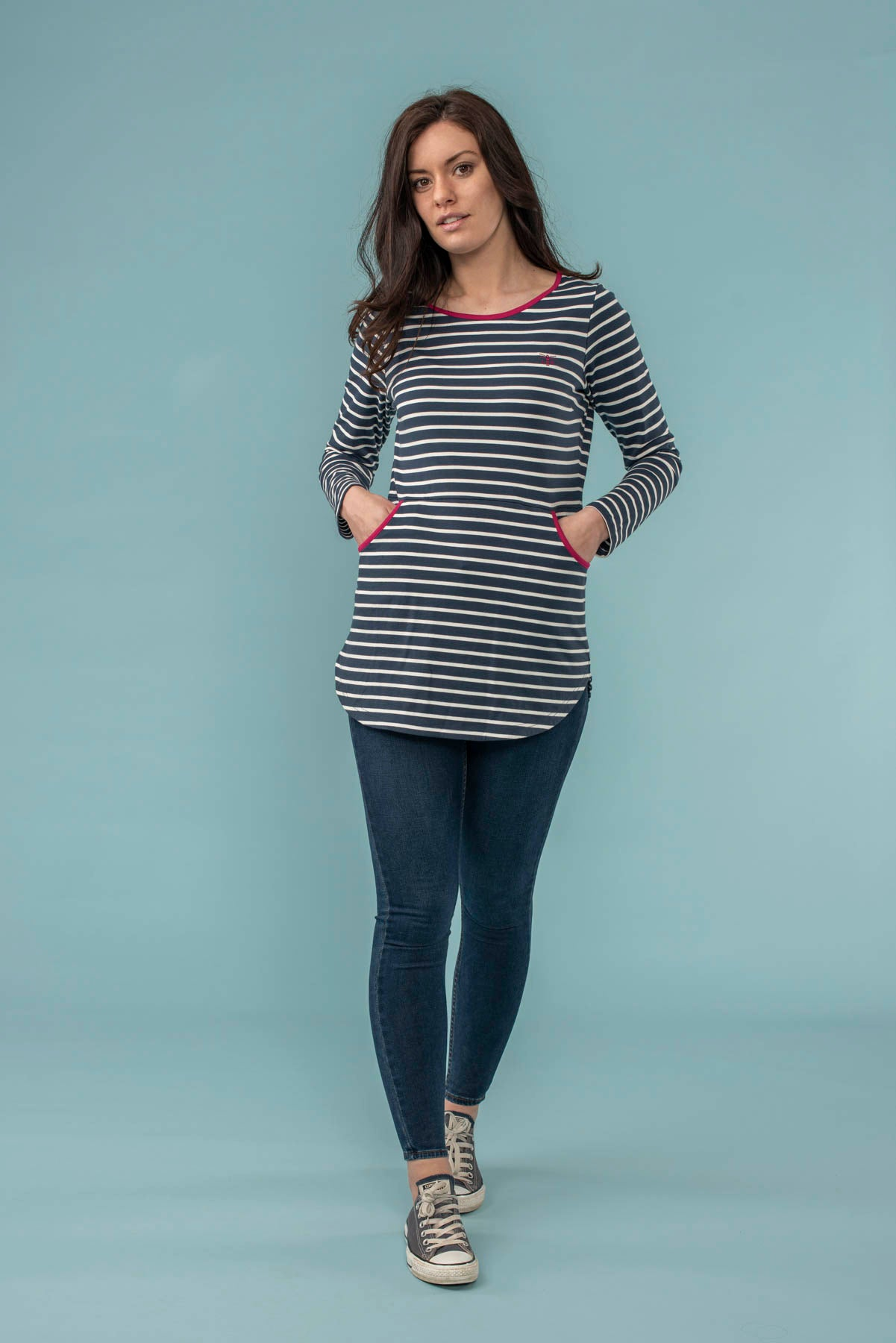 Coastline Womens Tunic in Navy Breton Stripes | Lighthouse