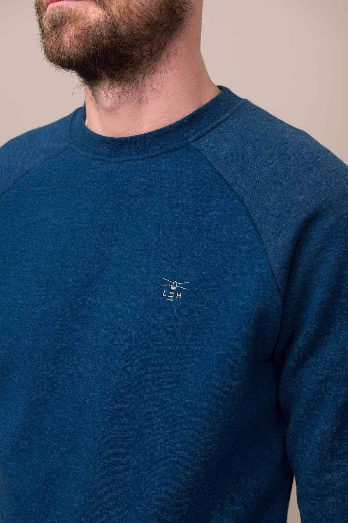 Crew Sweater - Deep Blue Marl