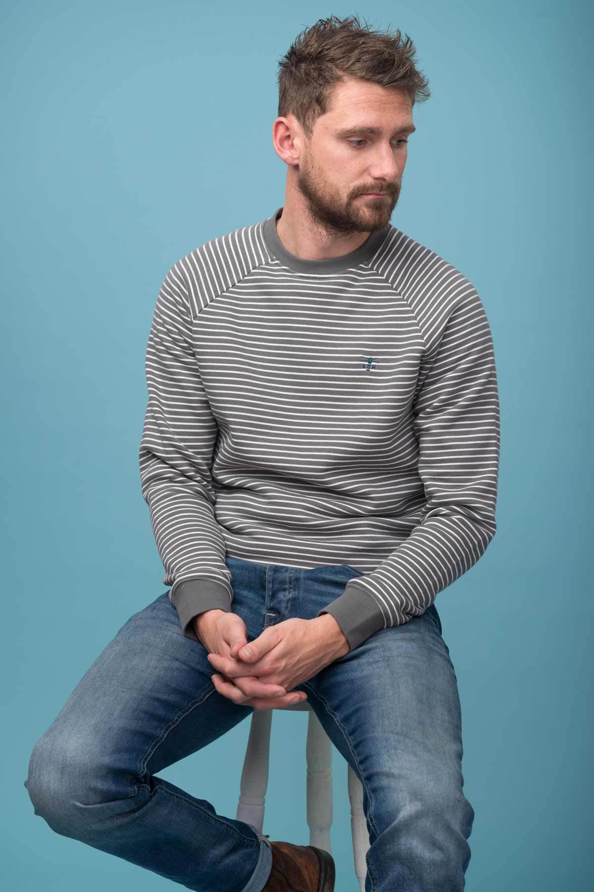 Lighthouse Crew - Mens Jumper - Grey Stripe