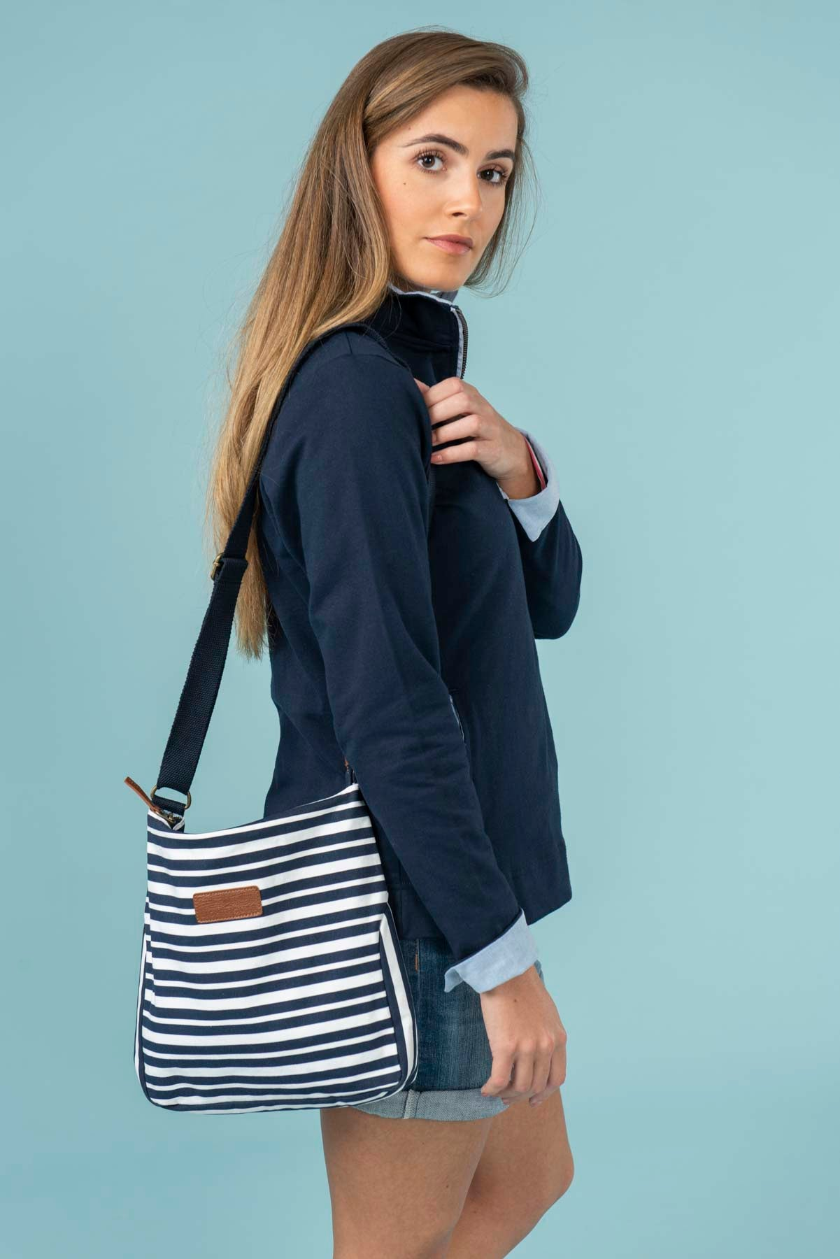 Women's Accessories - Navy striped cross over bag