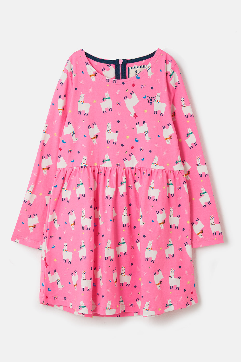 Lighthouse Ellie - Girl's Cotton Dress - Llama Print