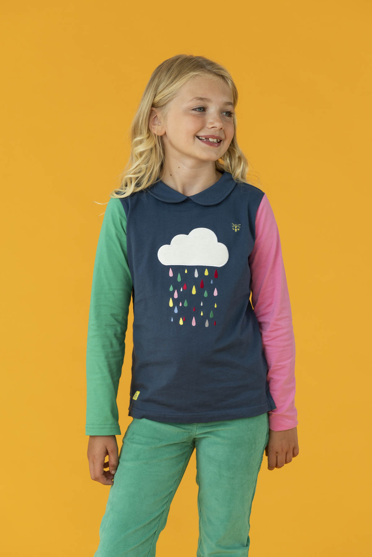 Emmie Top - Raindrop Print, Girl's Long Sleeve Top | Lighthouse