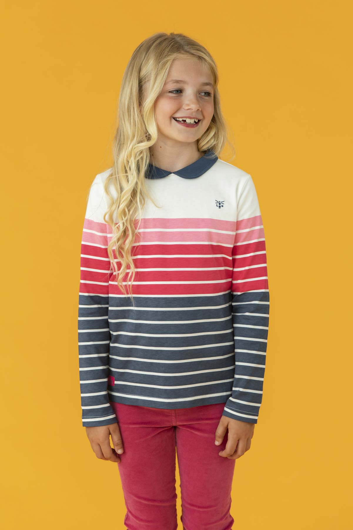 Emmie Top - Blue Pink Stripe, Girl's Long Sleeve Top | Lighthouse
