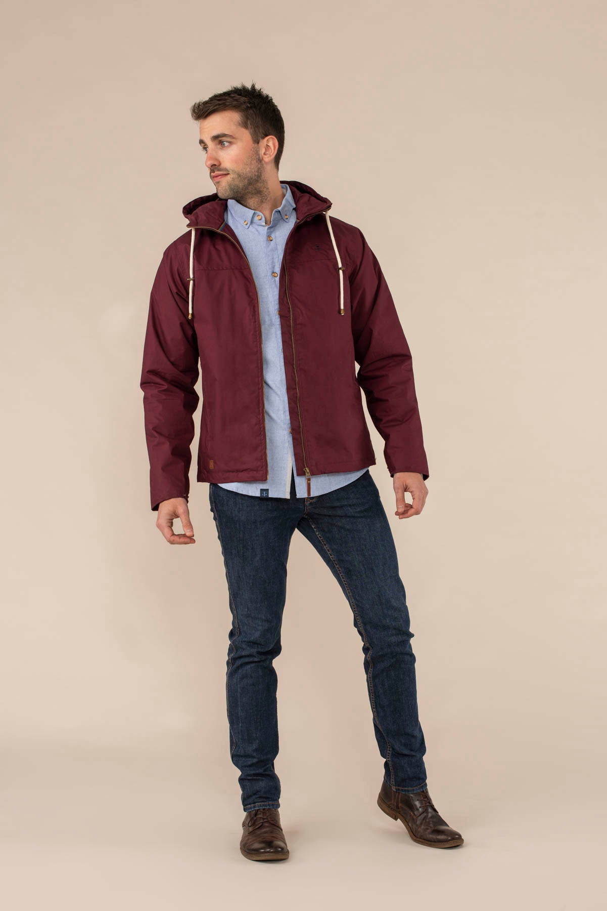 Faroe Coat. Men's Warm Raincoat in Deep Red | Lighthouse