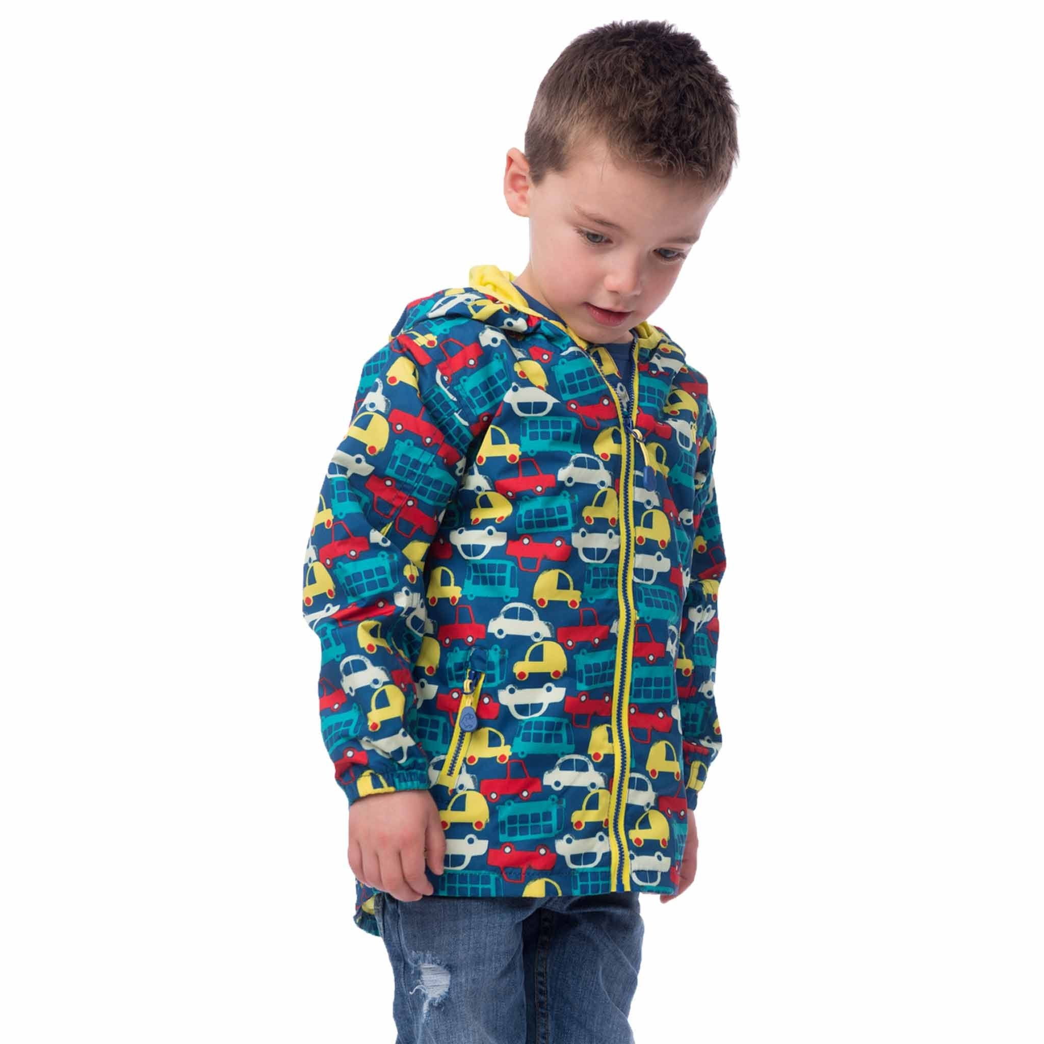 Lighthouse Finn Boys Waterproof Coat in Car Print