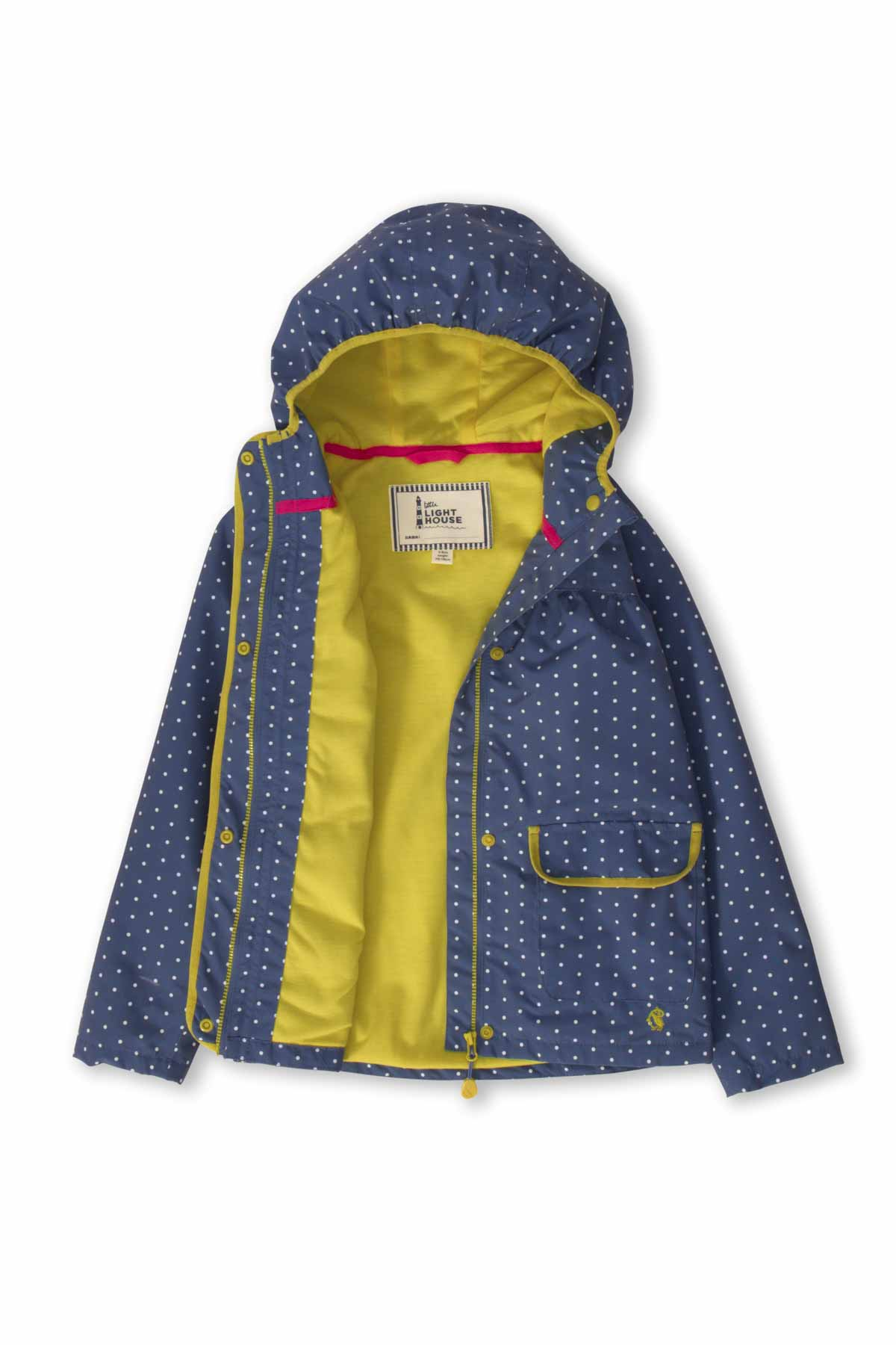 Lighthouse Fleur Girl's Waterproof Coat - Blue Bay Dot
