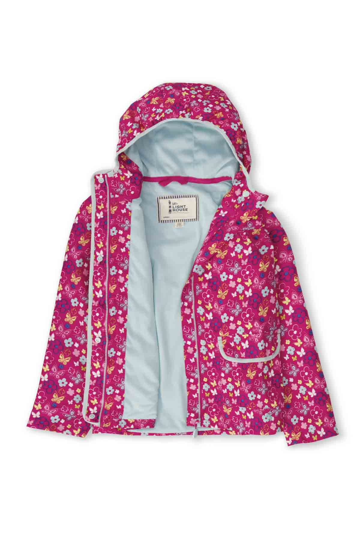 Lighthouse Fleur Girl's Waterproof Coat - Butterfly Print