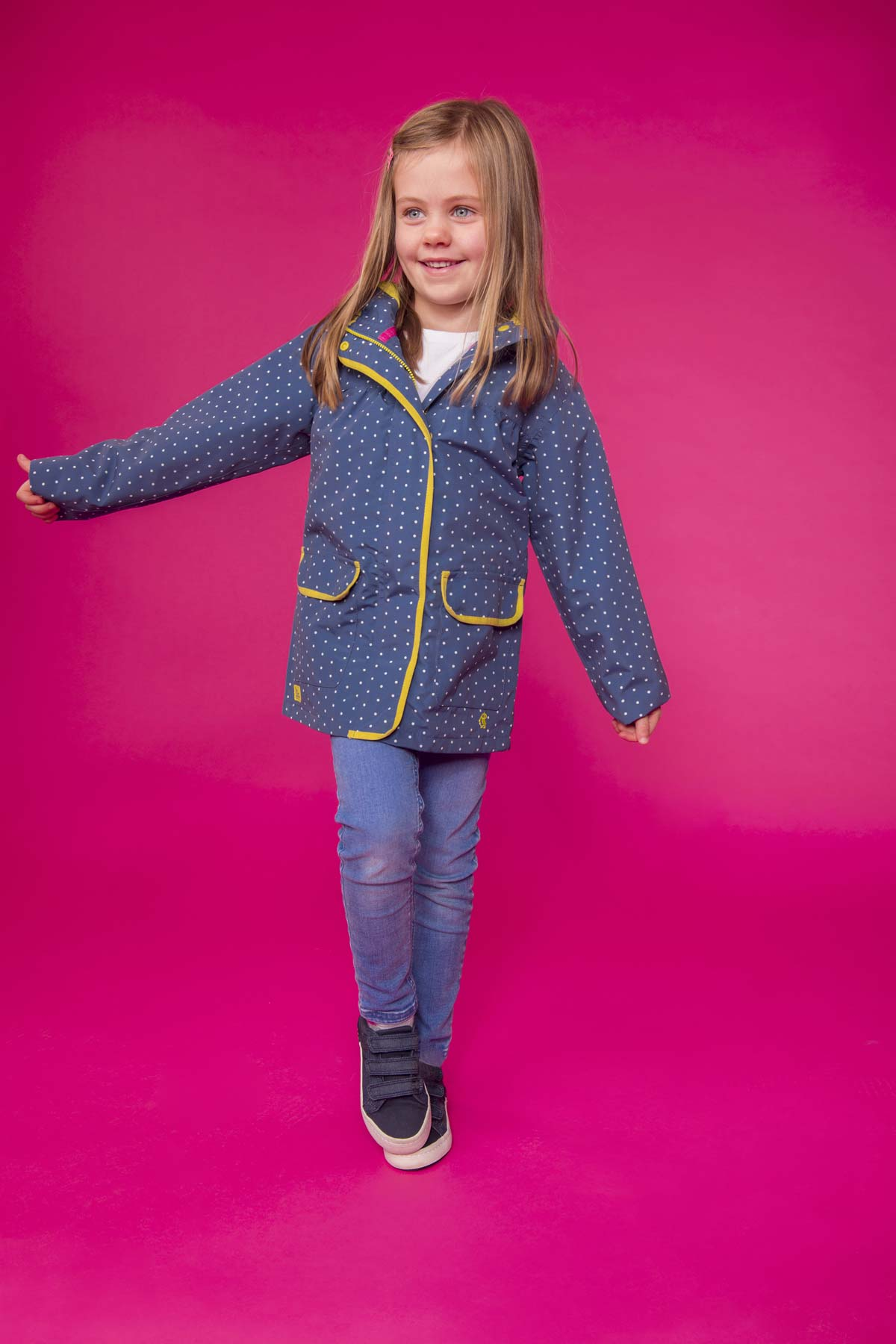 Lighthouse Fleur blue bay dot girl's waterproof coat