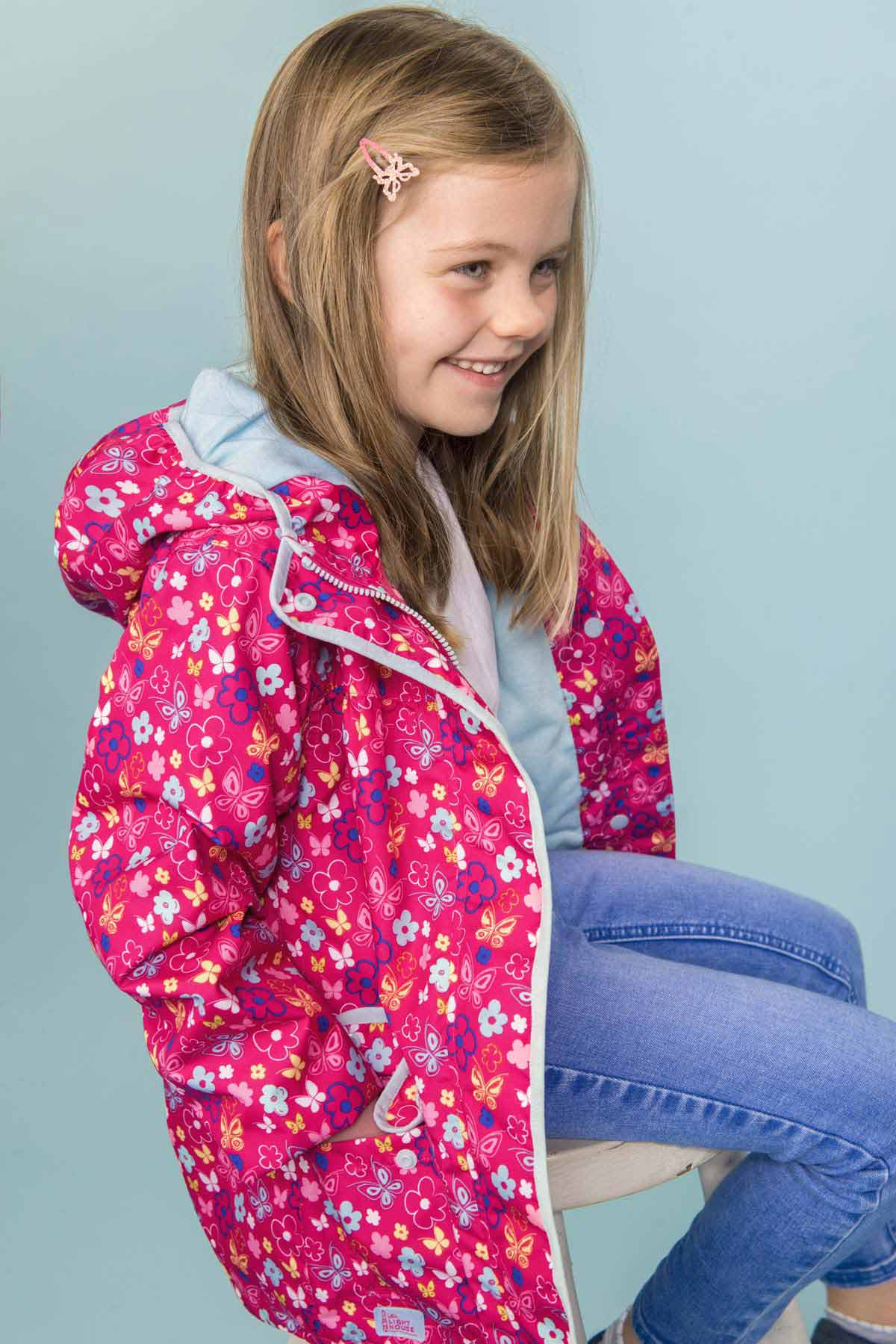 Lighthouse Fleur butterfly print girl's waterproof coat