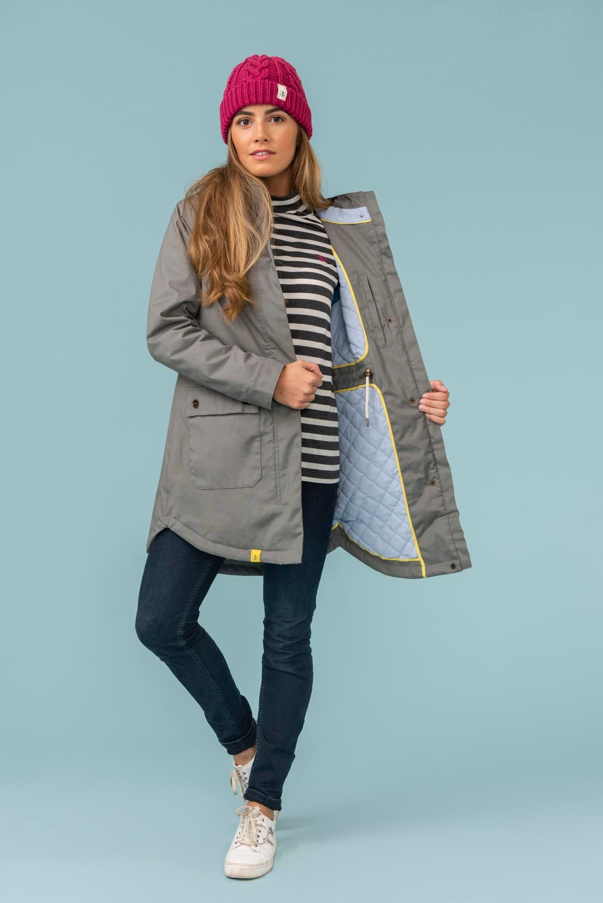 Florence Coat. Warm Grey Womens Winter Coat | Lighthouse