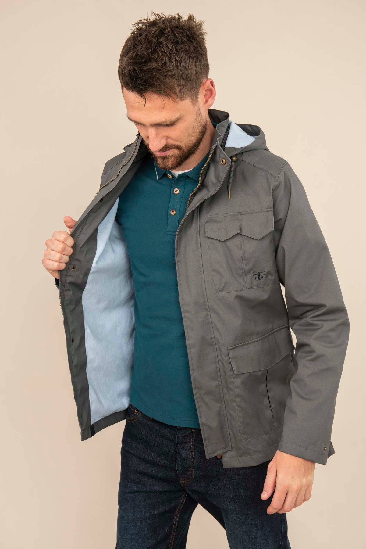 Men's Coats - Grayson - Grey Raincoat
