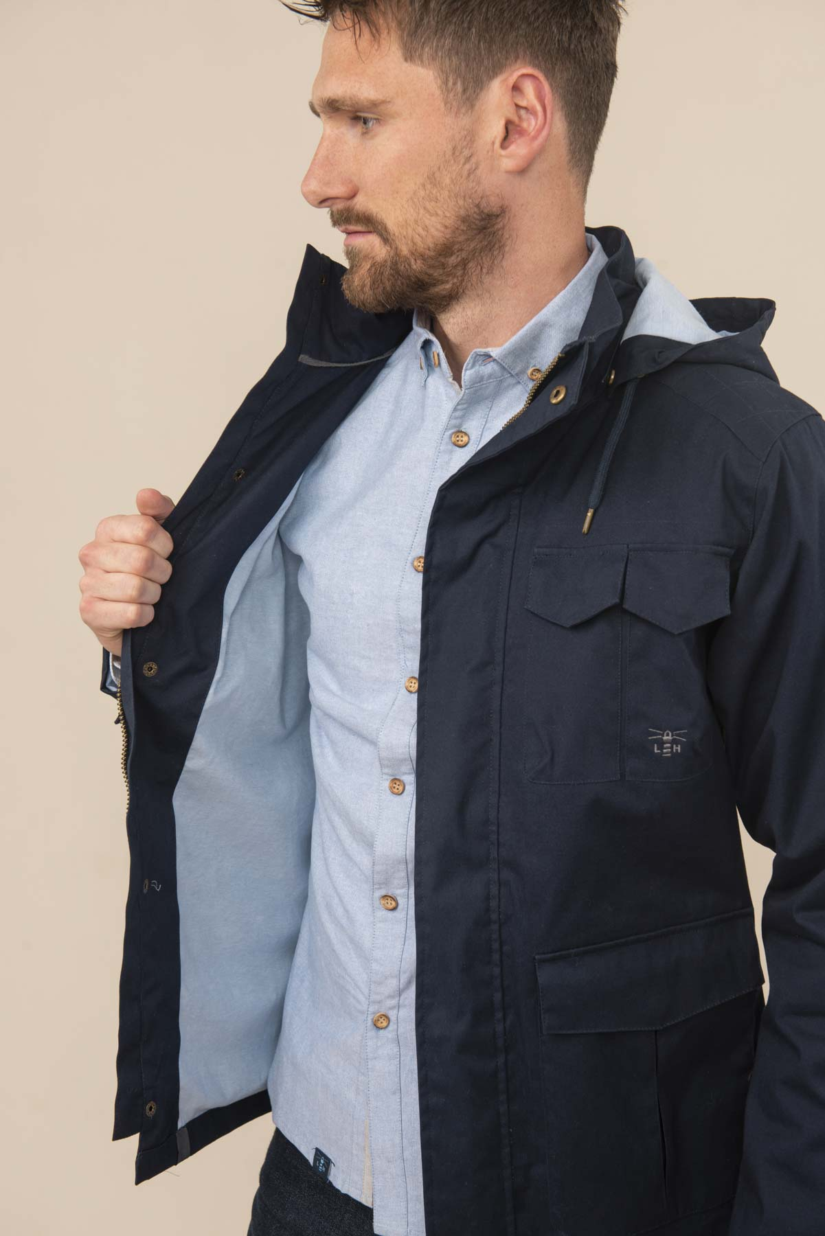 Men's Coats - Grayson - Navy Raincoat
