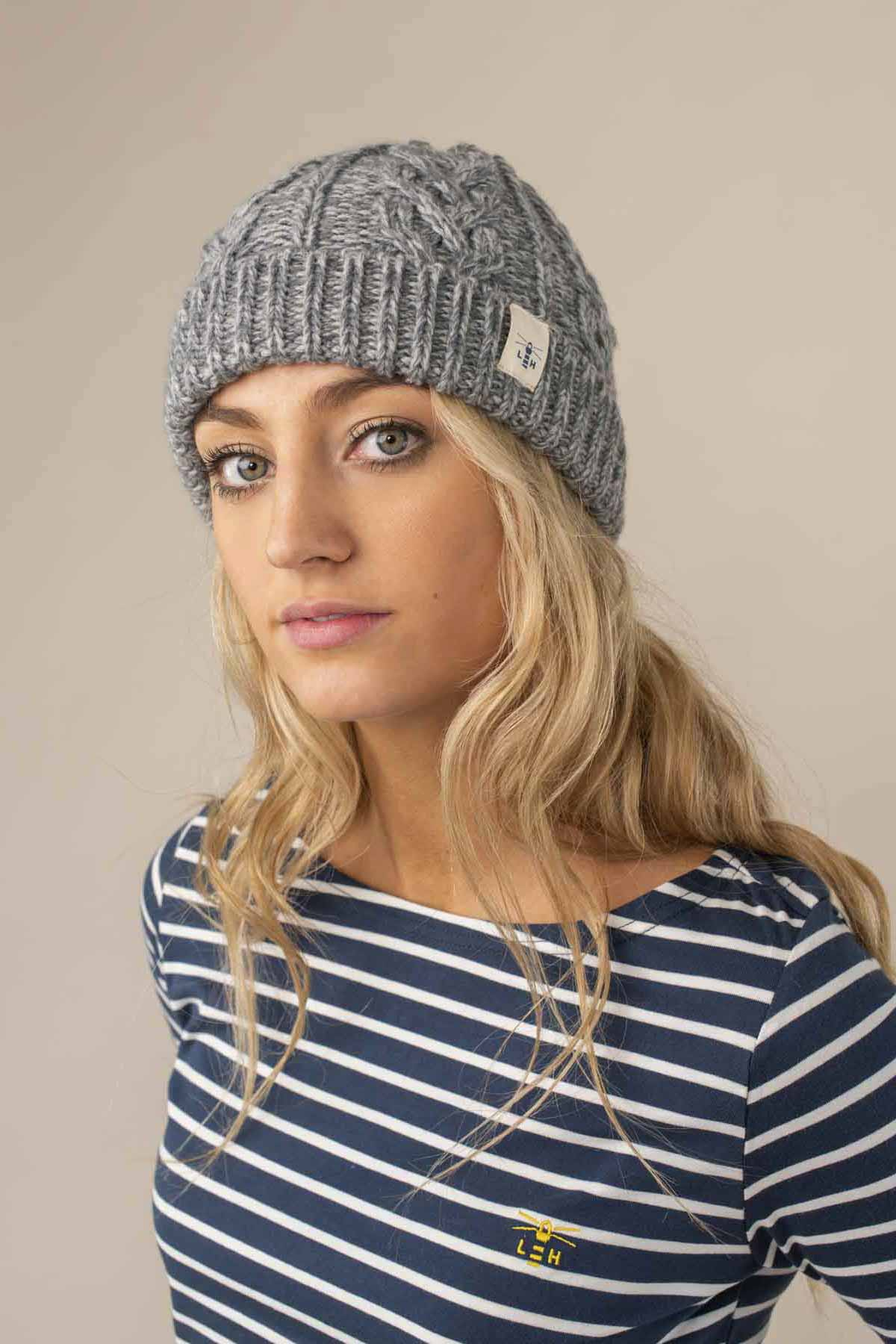 Hannah Beanie. Grey Cable Knit Style | Lighthouse