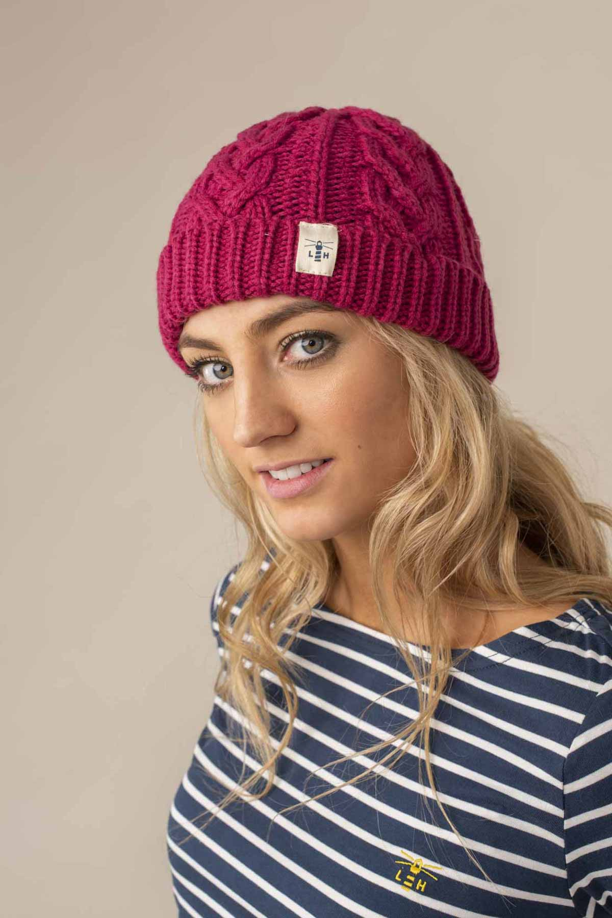 Hannah Beanie. Pink Cable Knit Style | Lighthouse