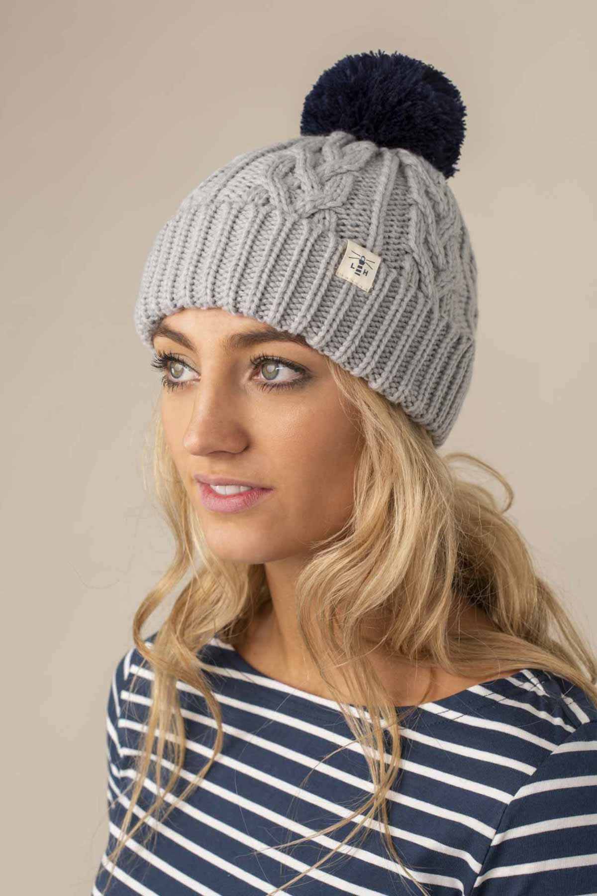 Hannah Bobble Hat. Grey Cable Knit Style | Lighthouse