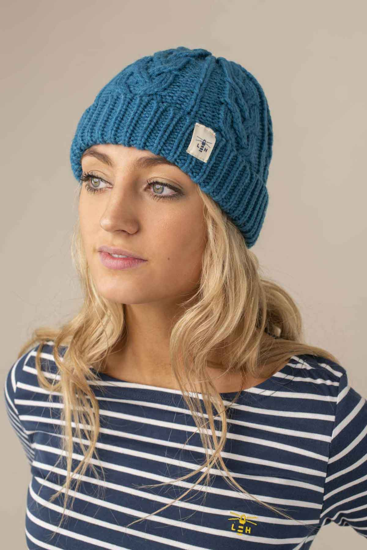 Hannah Beanie. Deep Blue Cable Knit Style | Lighthouse