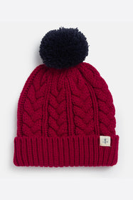 Hannah Bobble Hat - Deep Red