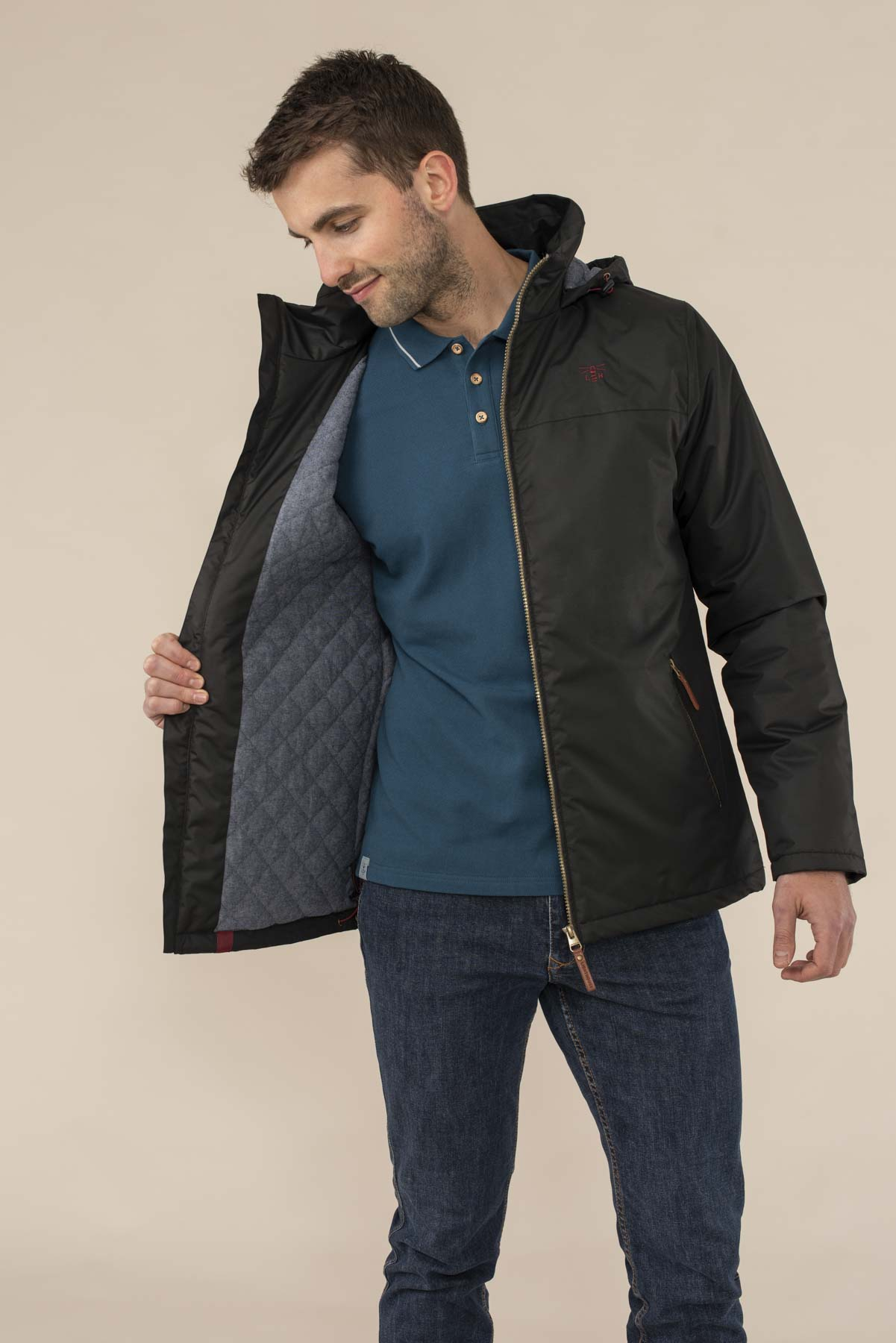 Harbour Coat - Black. Men's Warm Padded Waterproof Coat | Lighthouse