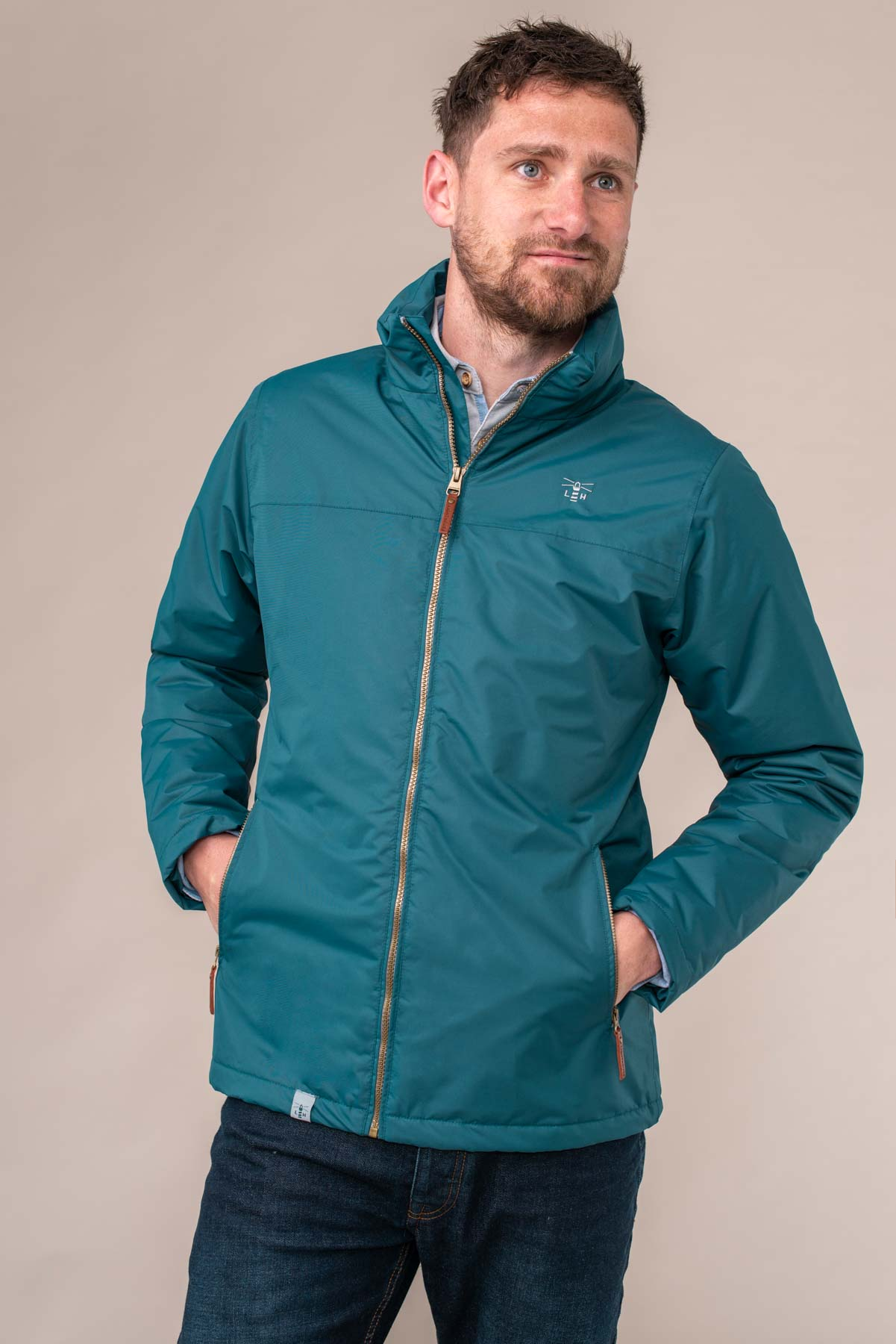Harbour Coat - Blue. Men's Warm Padded Waterproof Coat | Lighthouse