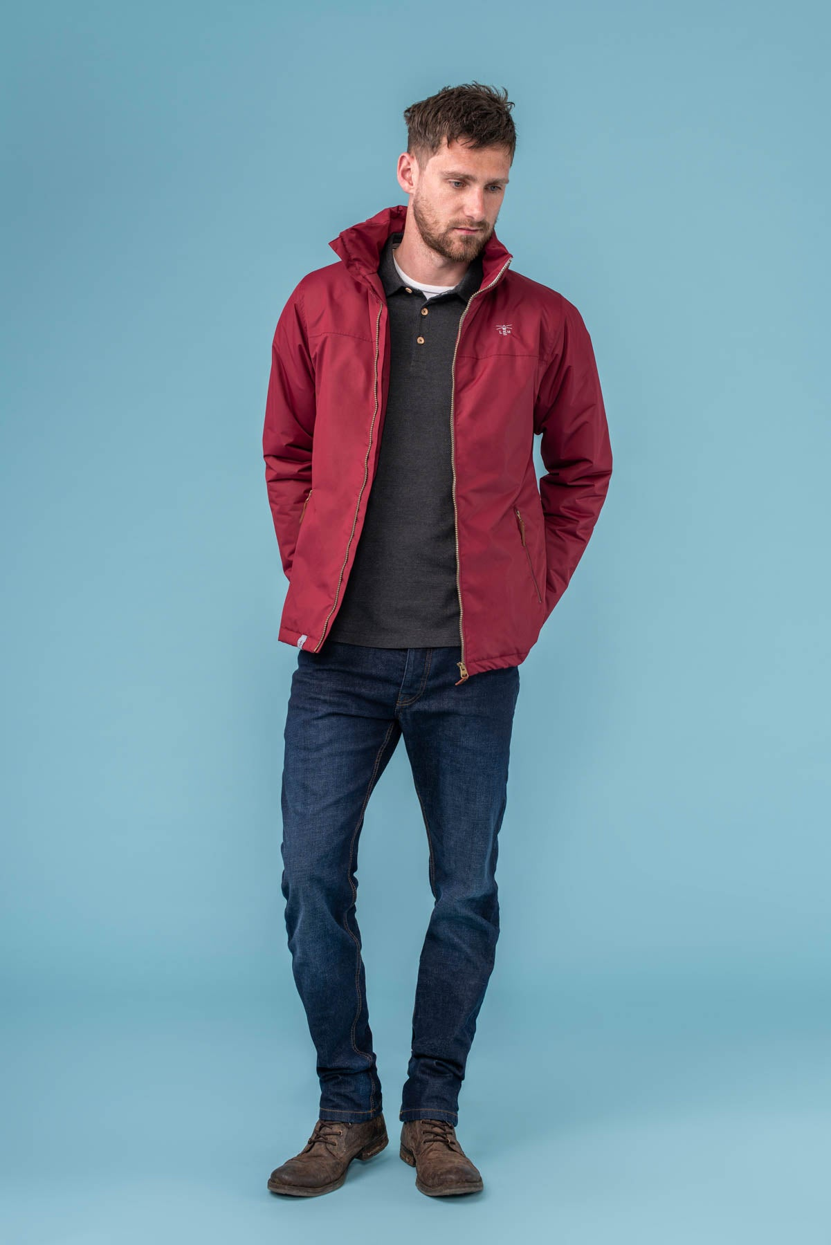 Harbour Coat - Red. Men's Warm Padded Waterproof Coat | Lighthouse