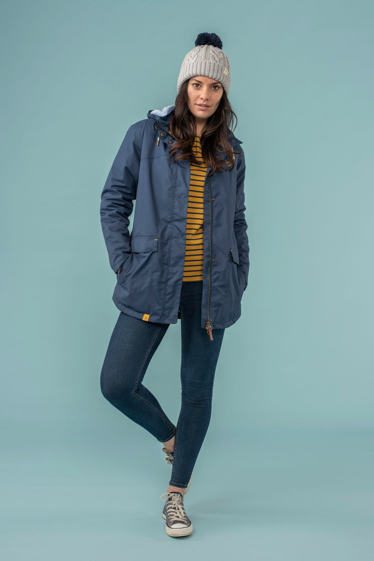 Iona Coat. Warm Women's Navy Raincoat | Lighthouse