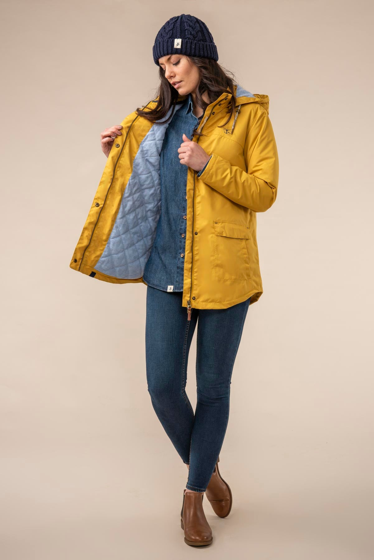 Iona Coat. Warm Women's Yellow Raincoat | Lighthouse
